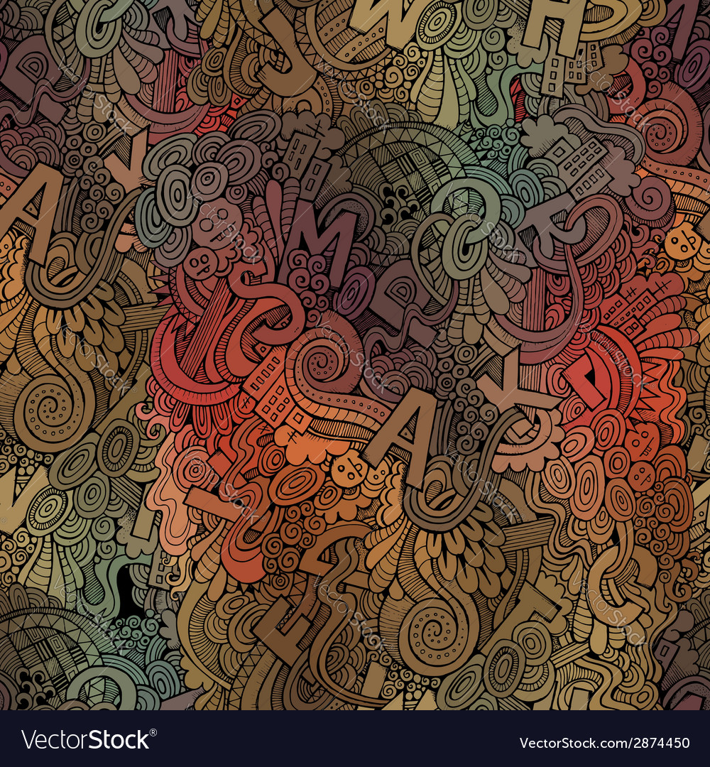 Letters abstract decorative doodles seamless vector   Price: 1 Credit (USD $1)