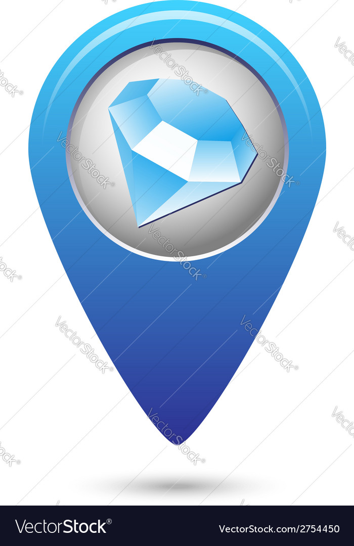 Map pointer with jewel icon vector | Price: 1 Credit (USD $1)