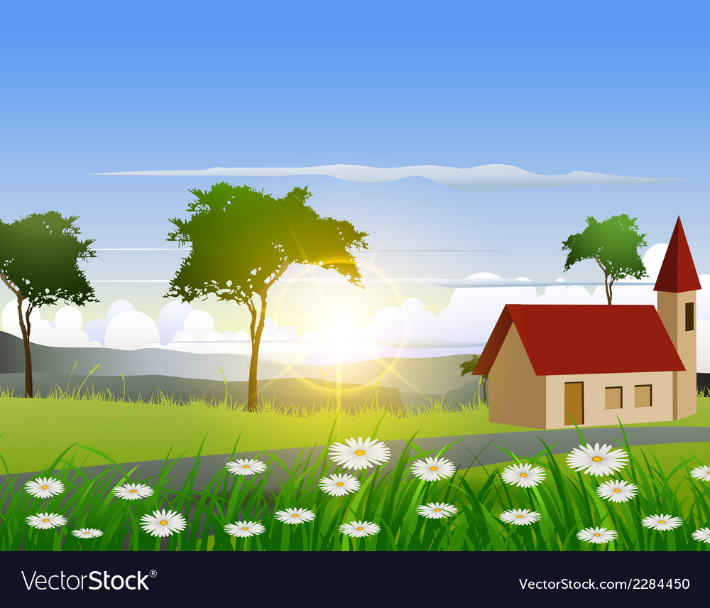 Nature background with house and sunlight effect vector | Price: 3 Credit (USD $3)
