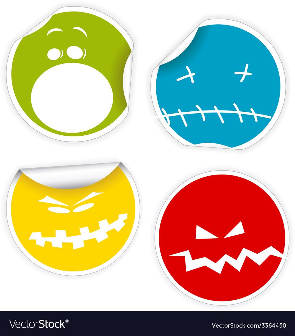 Set of halloween smiles labels vector | Price: 1 Credit (USD $1)