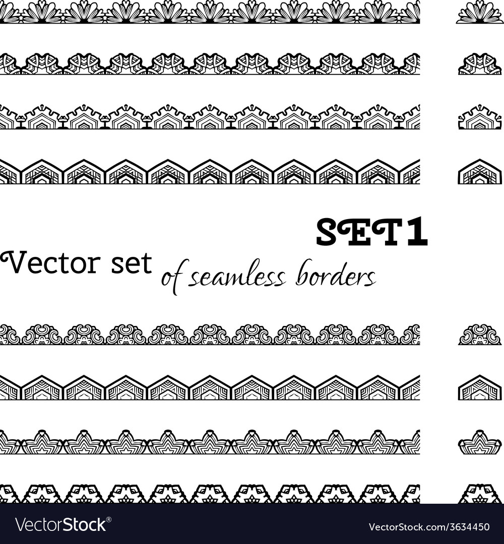 Set of seamless borders vector | Price: 1 Credit (USD $1)