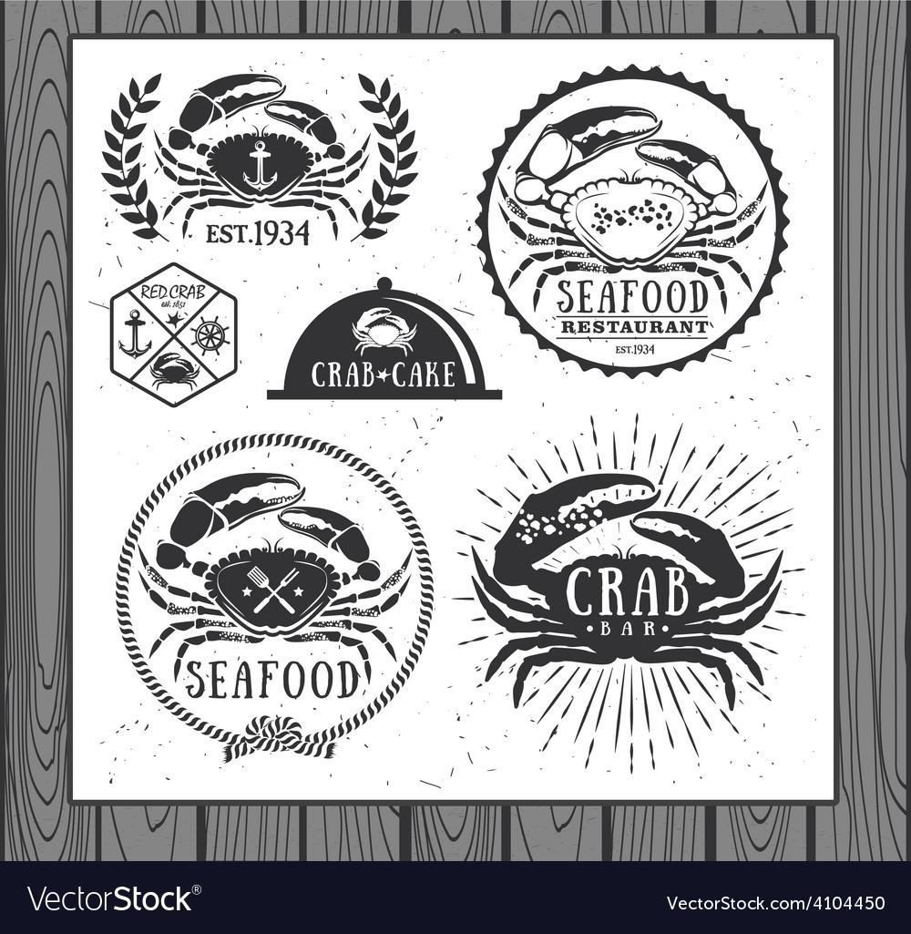Set of vintage seafood labels badges and design vector | Price: 1 Credit (USD $1)
