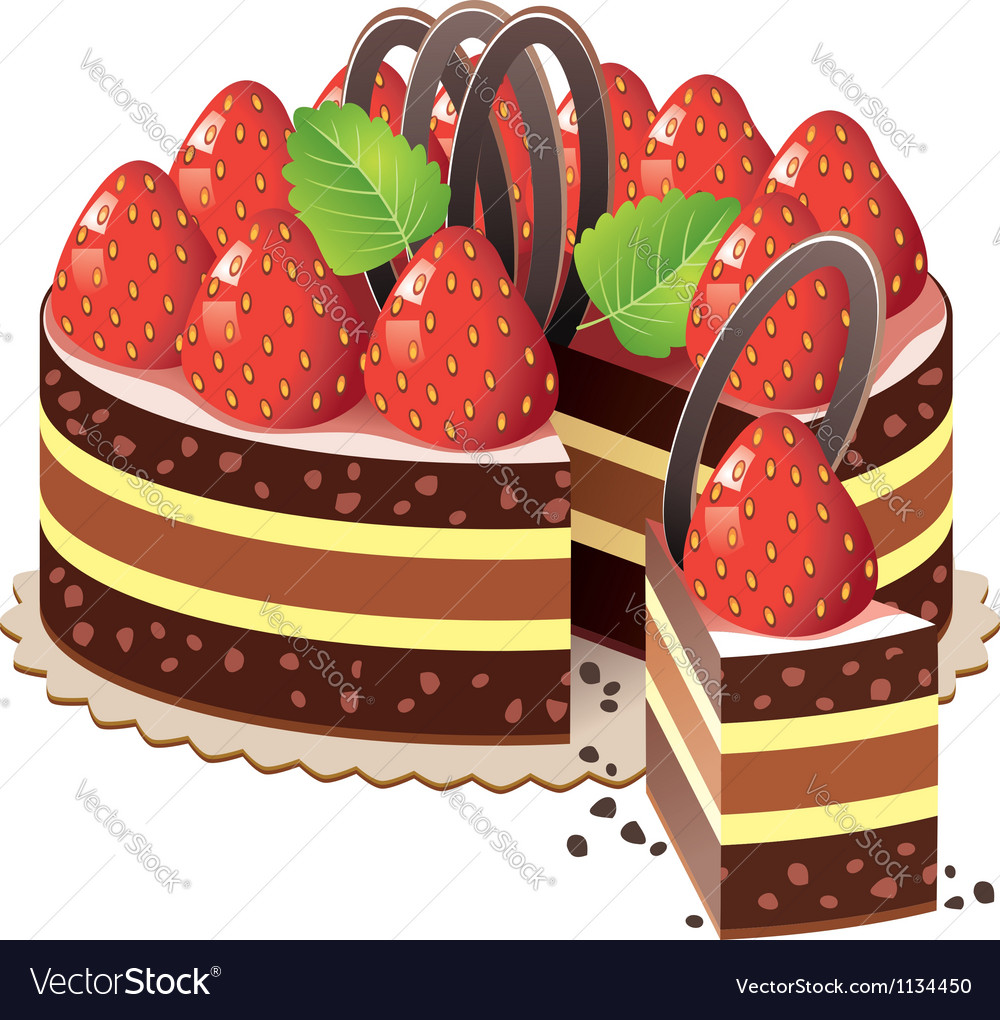 Strawberry cake vector | Price: 3 Credit (USD $3)