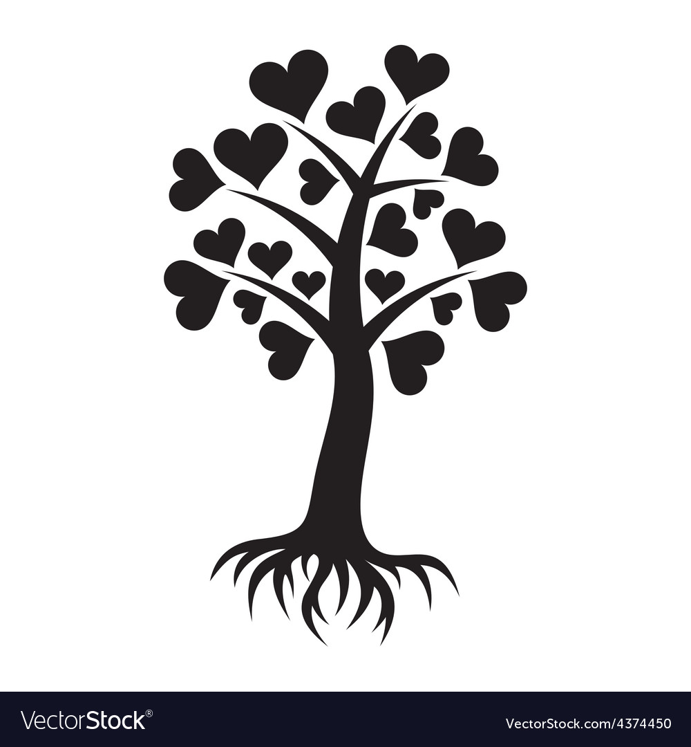 Tree with hearts and roots vector | Price: 1 Credit (USD $1)