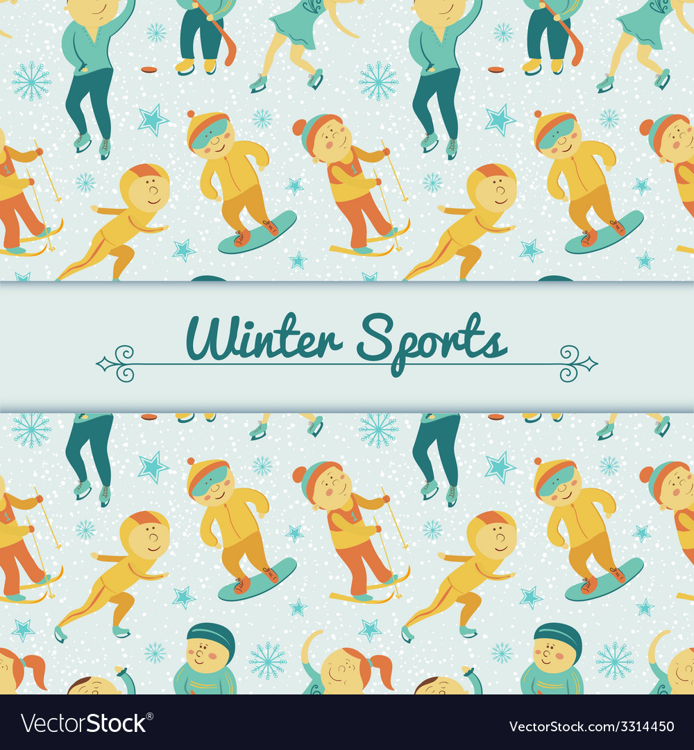 Winter sports background with children vector | Price: 1 Credit (USD $1)