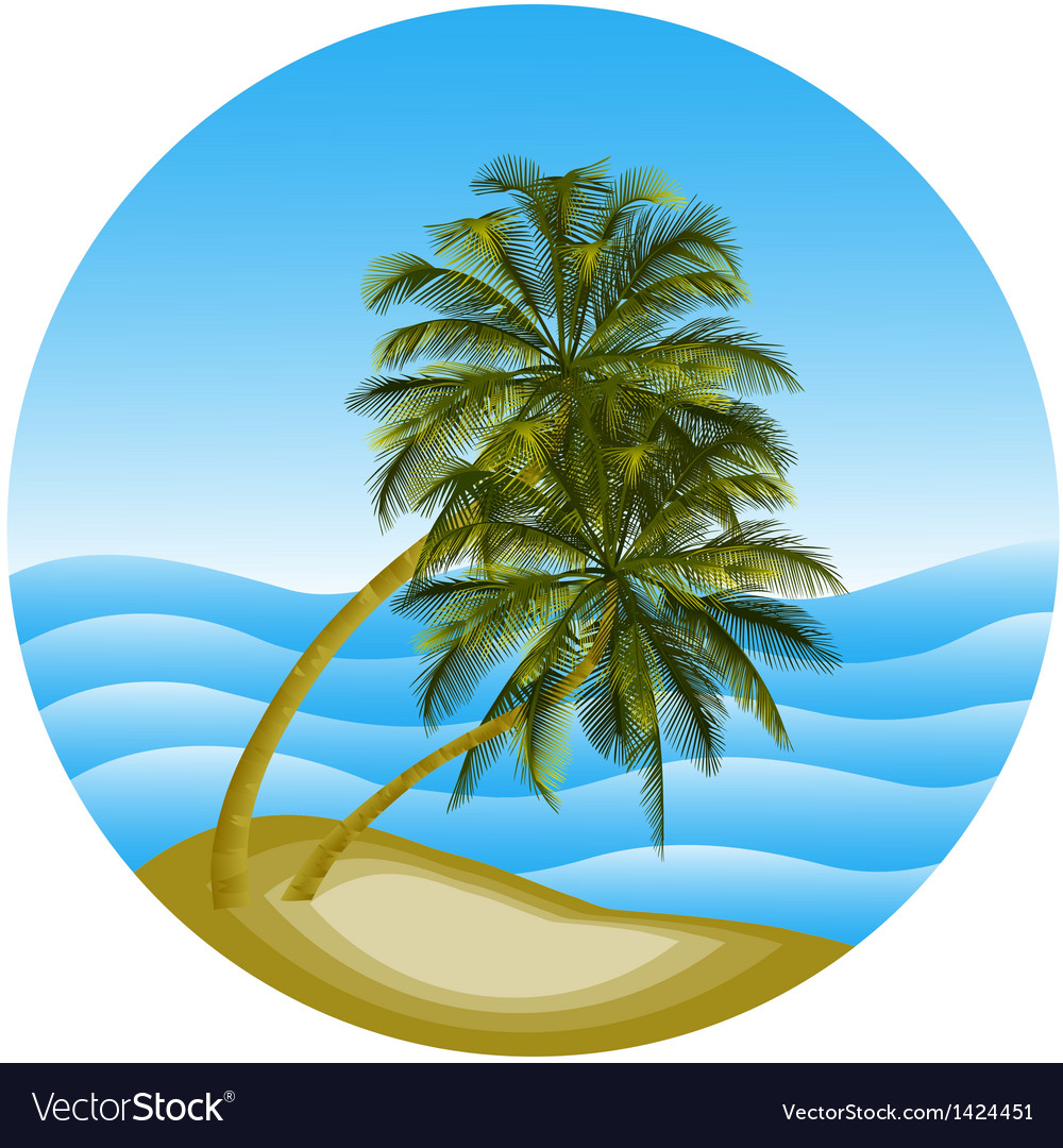 A sea landscape with a palm vector | Price: 1 Credit (USD $1)