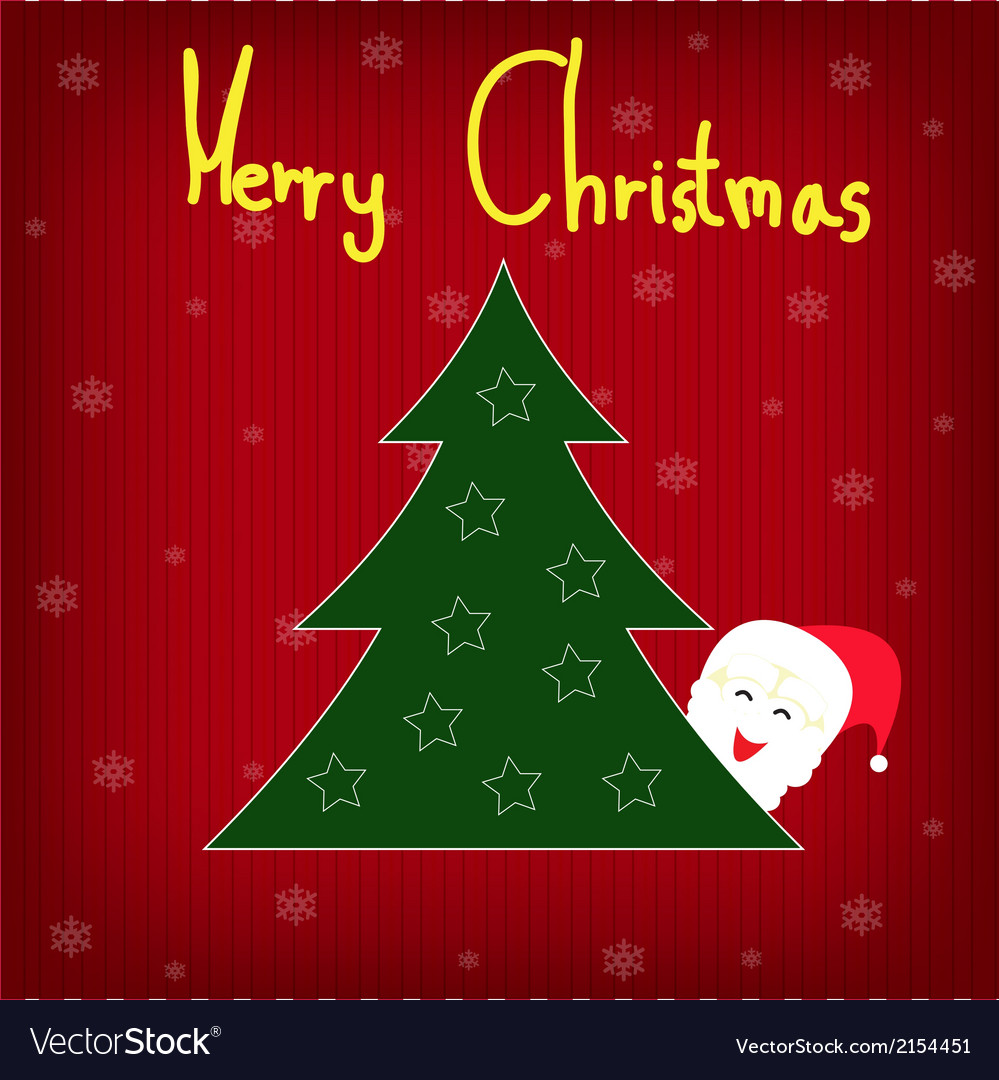 Background christmas tree with snowflakes and sant vector | Price: 1 Credit (USD $1)
