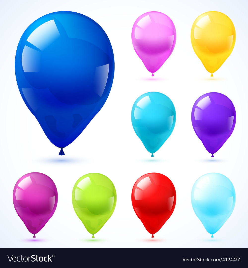 Color balloons icons set vector | Price: 1 Credit (USD $1)