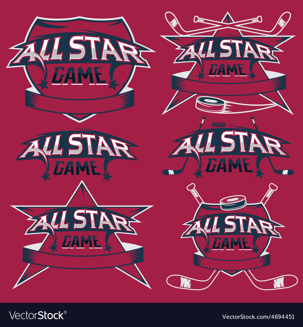 Set of vintage sports all star crests with hockey vector | Price: 1 Credit (USD $1)