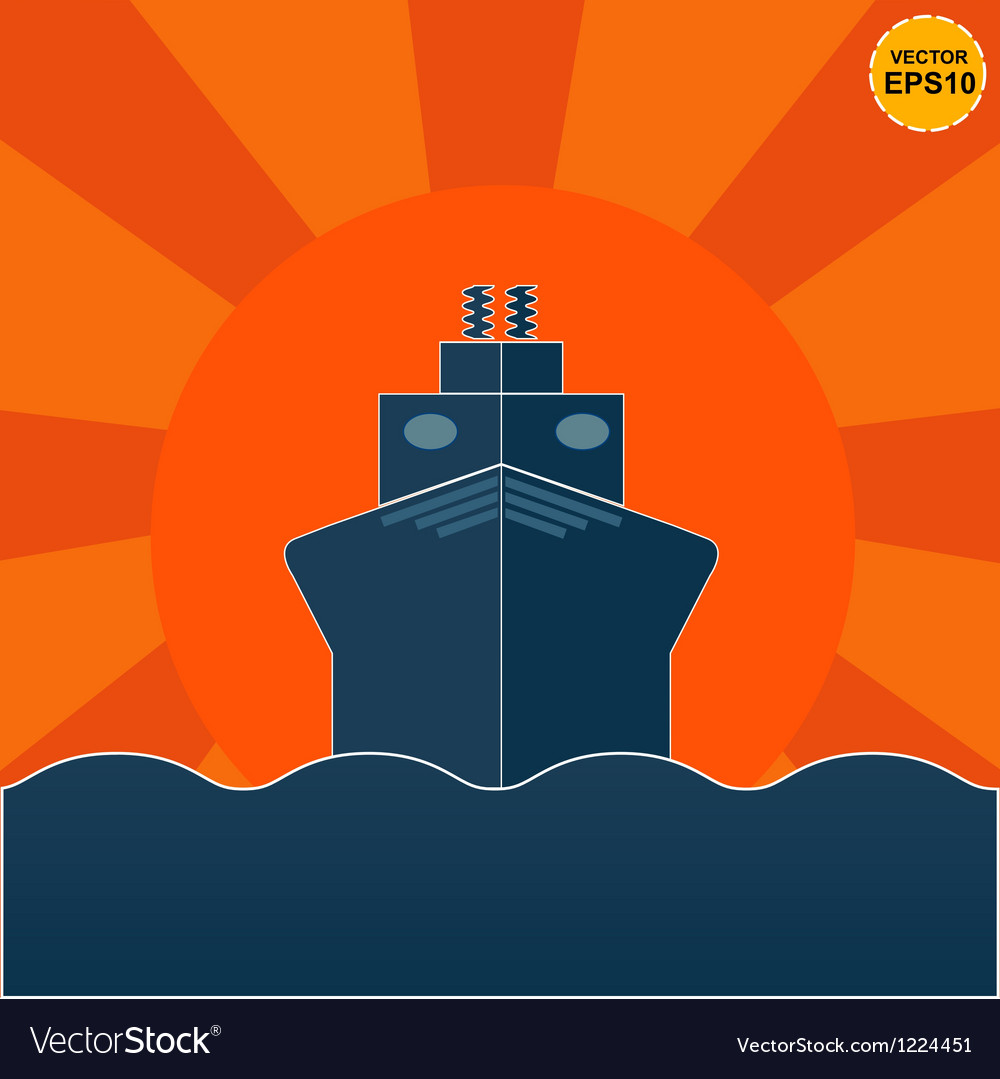 Ship on sunrise or sunset background eps10 vector | Price: 1 Credit (USD $1)