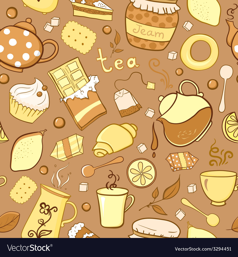 Tea and sweets seamless pattern in doodle style vector | Price: 1 Credit (USD $1)