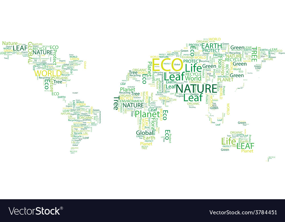 World map eco font set seamless pattern vector | Price: 1 Credit (USD $1)