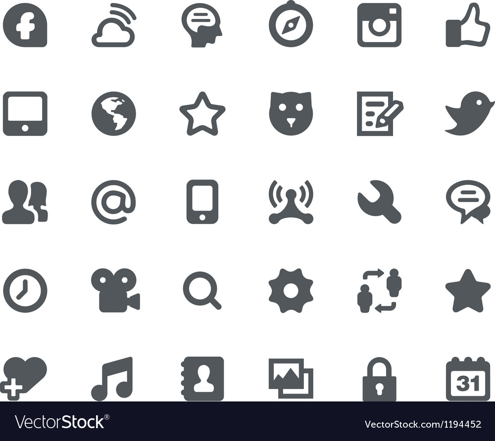 30 social media network icons vector | Price: 1 Credit (USD $1)