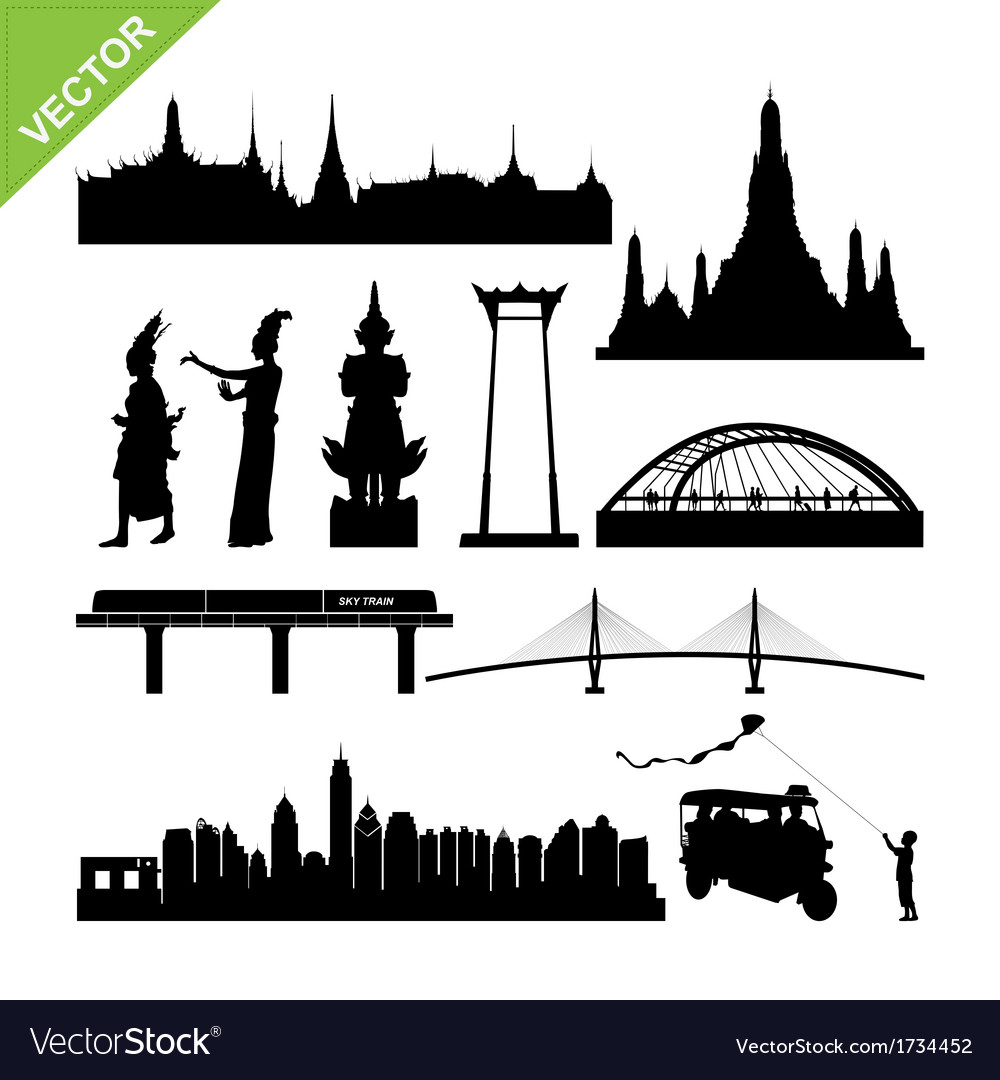 Bangkok symbol and landmark silhouettes vector | Price: 1 Credit (USD $1)