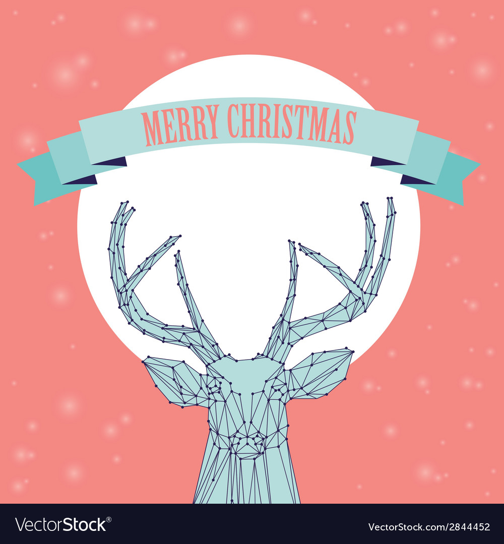 Christmas deer on pink background vector | Price: 1 Credit (USD $1)