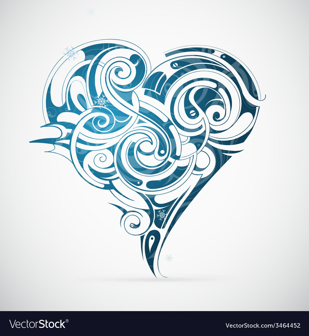Cold heart with frost ornament vector | Price: 1 Credit (USD $1)