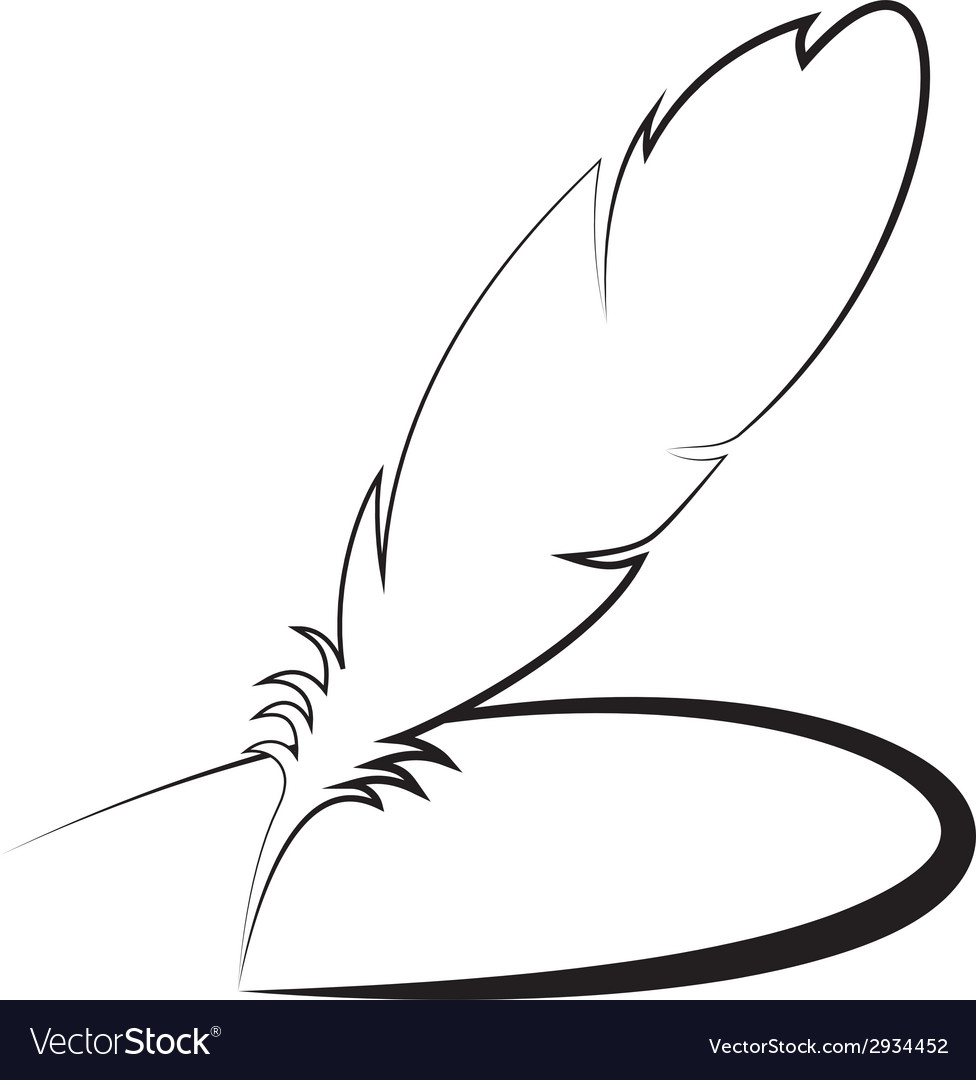 Feather with line vector | Price: 1 Credit (USD $1)