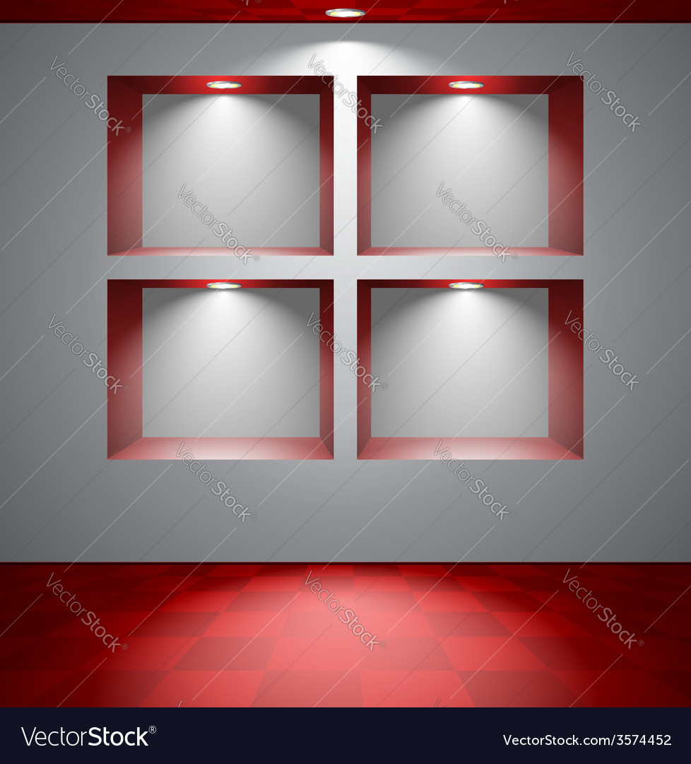 Gray room with niches vector | Price: 1 Credit (USD $1)