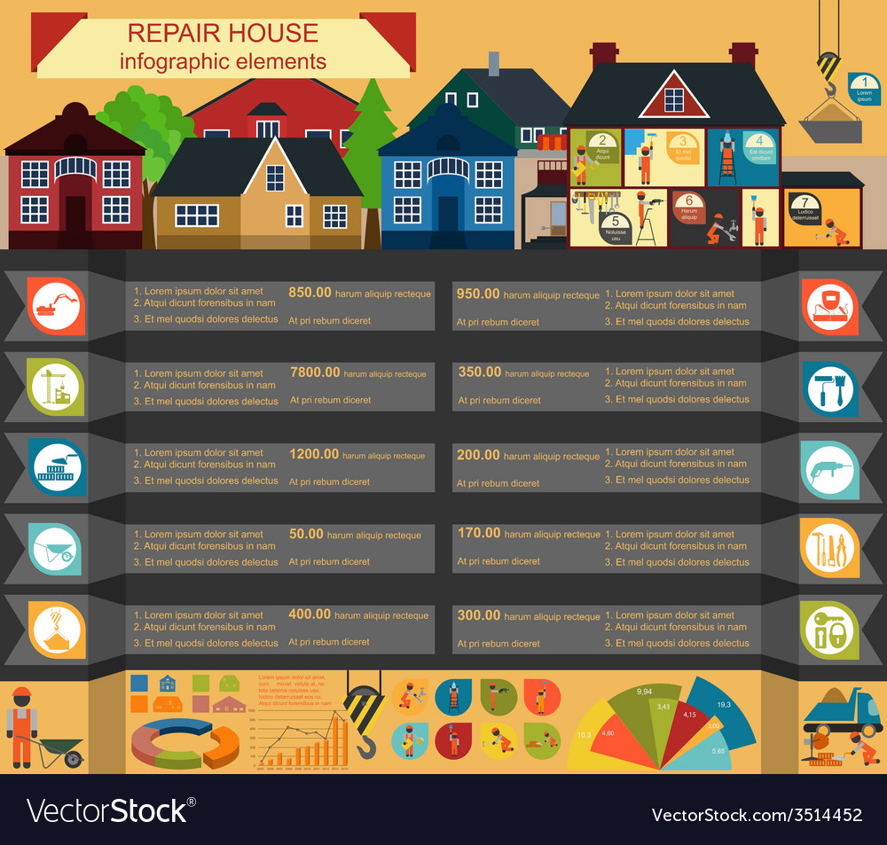 House repair infographic set elements vector   Price: 1 Credit (USD $1)