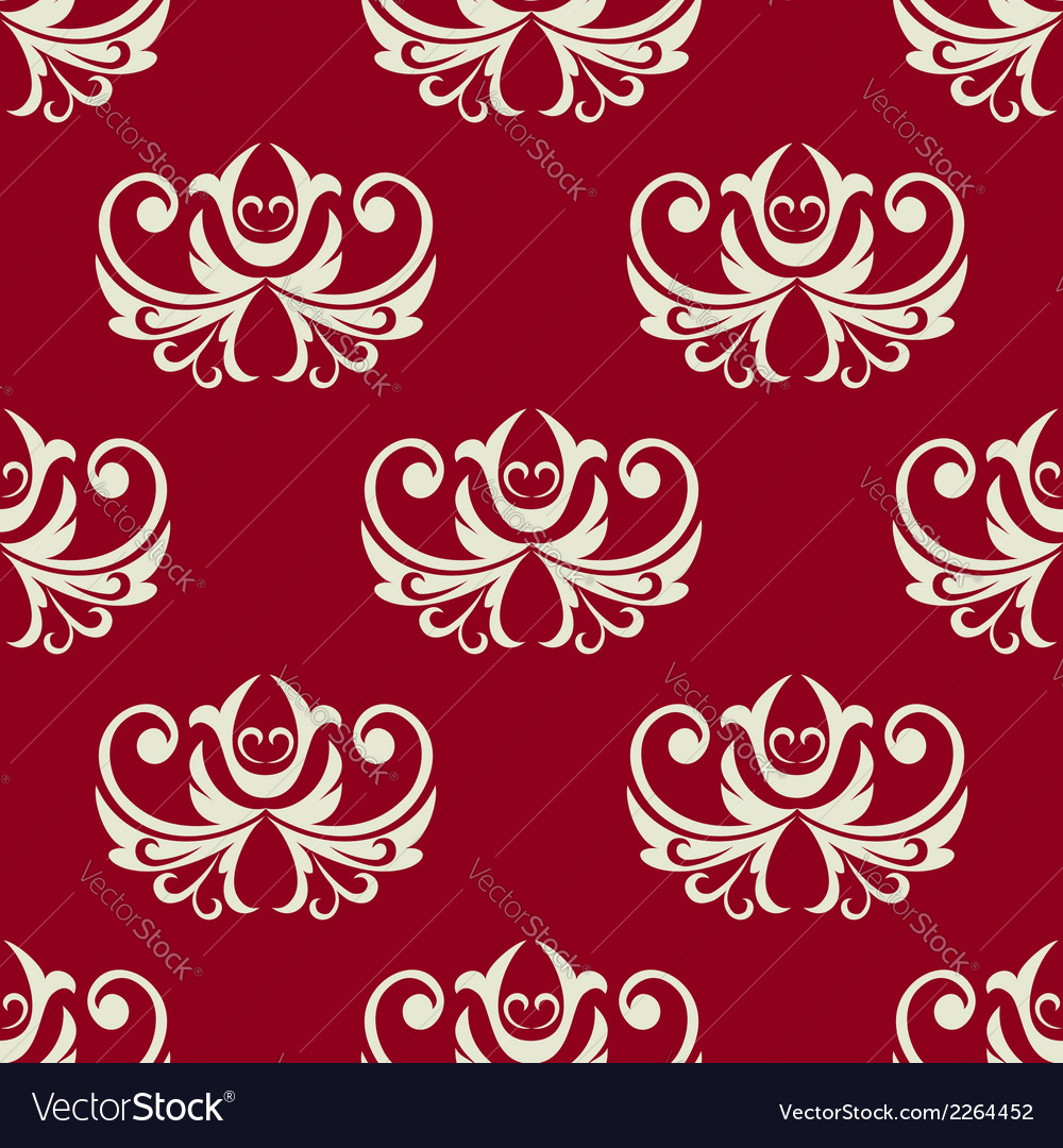 Maroon and white seamless floral pattern vector | Price: 1 Credit (USD $1)