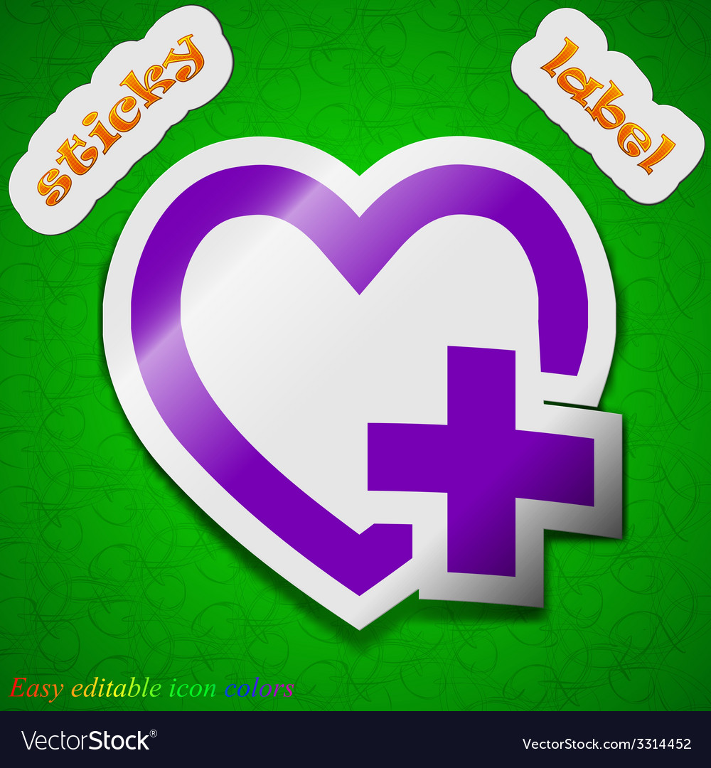 Medical heart icon sign symbol chic colored sticky vector | Price: 1 Credit (USD $1)