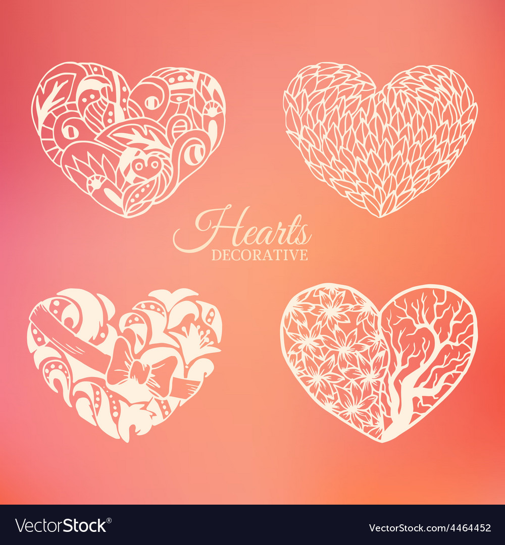 Ornamental decorative heart set on blurred vector | Price: 1 Credit (USD $1)