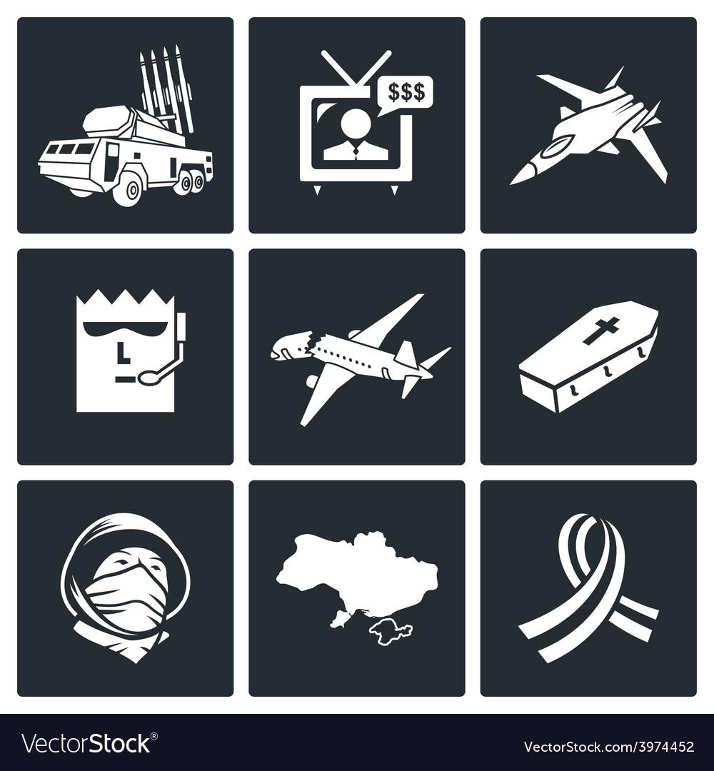 Plane crash icons set vector | Price: 1 Credit (USD $1)