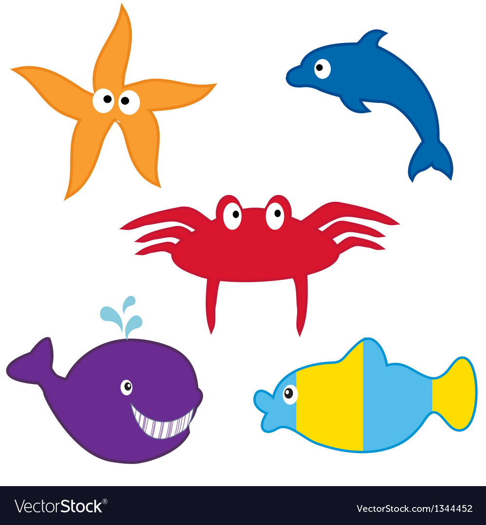 Sea animals collection format vector | Price: 1 Credit (USD $1)