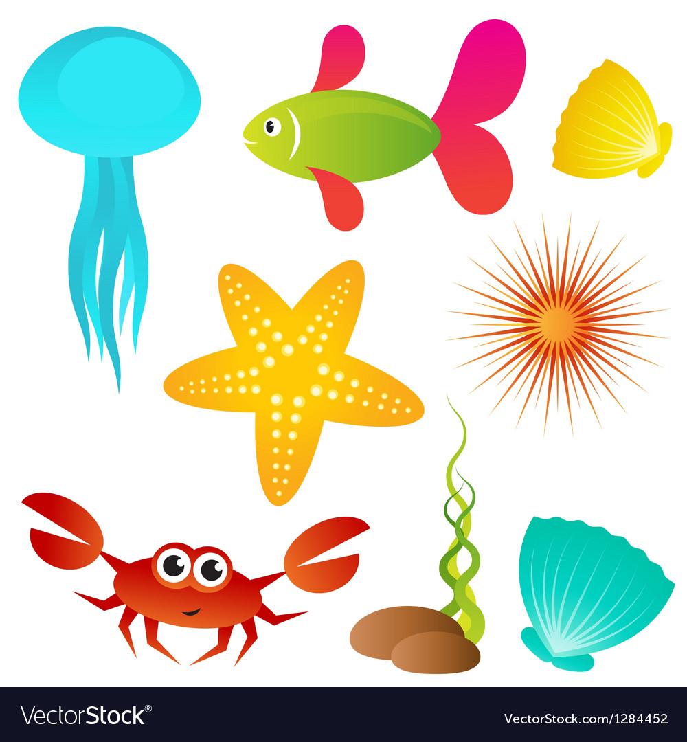 Set of sea animals vector | Price: 1 Credit (USD $1)