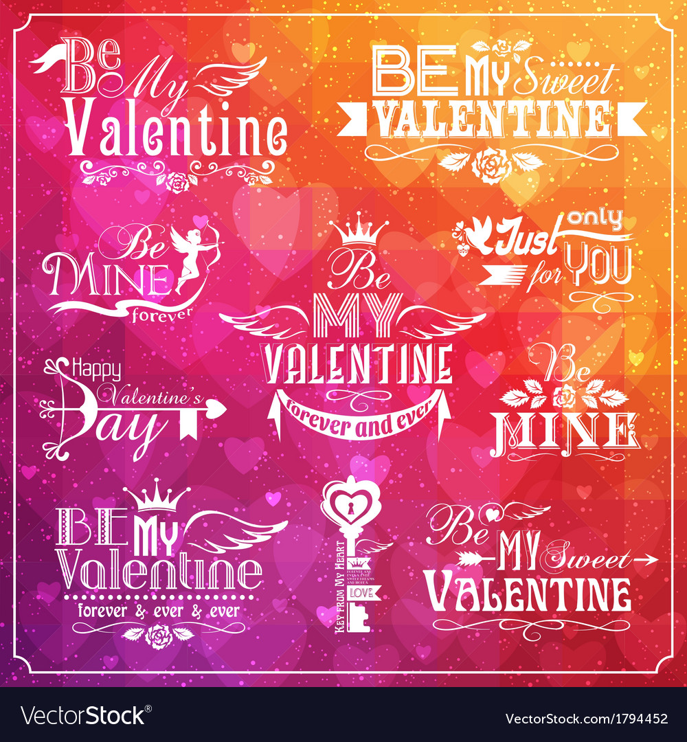 Set of valentines day typographic elements vector | Price: 1 Credit (USD $1)