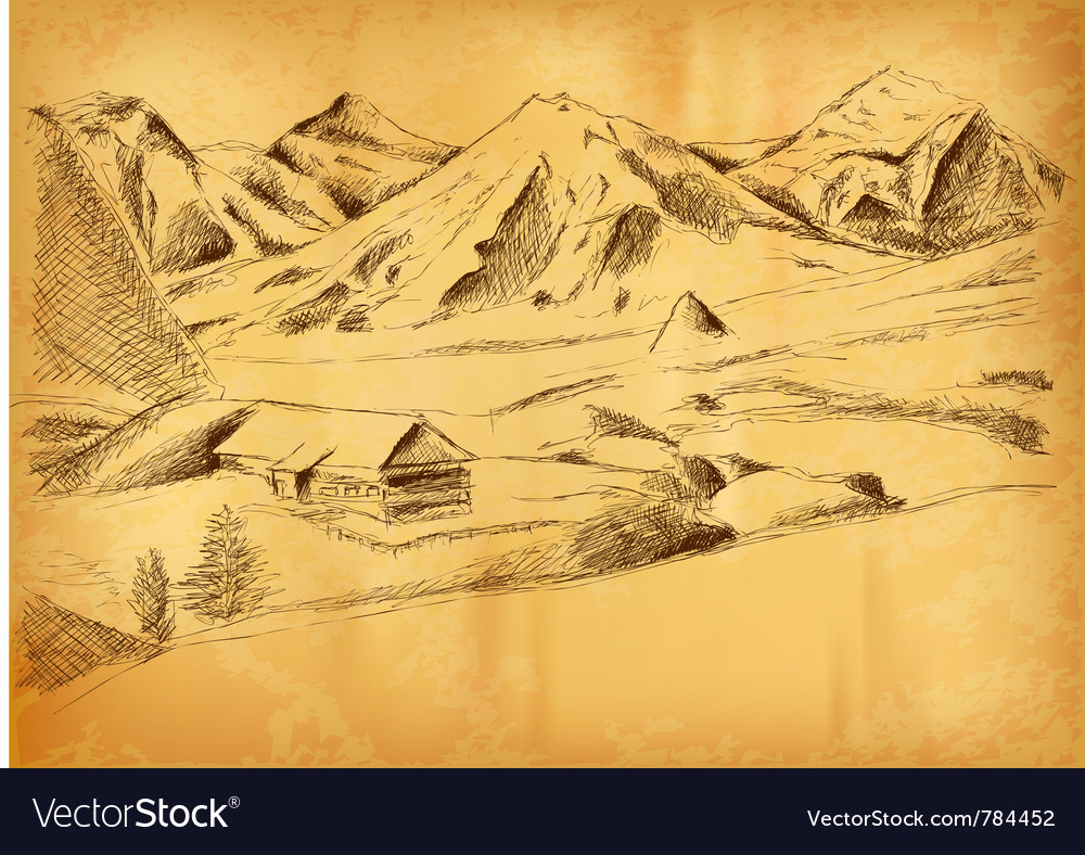 Sketch of the mountains vector | Price: 1 Credit (USD $1)