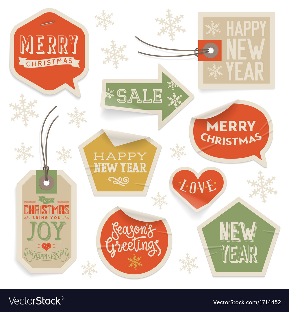 Stickers and labels for christmas and new year vector | Price: 1 Credit (USD $1)