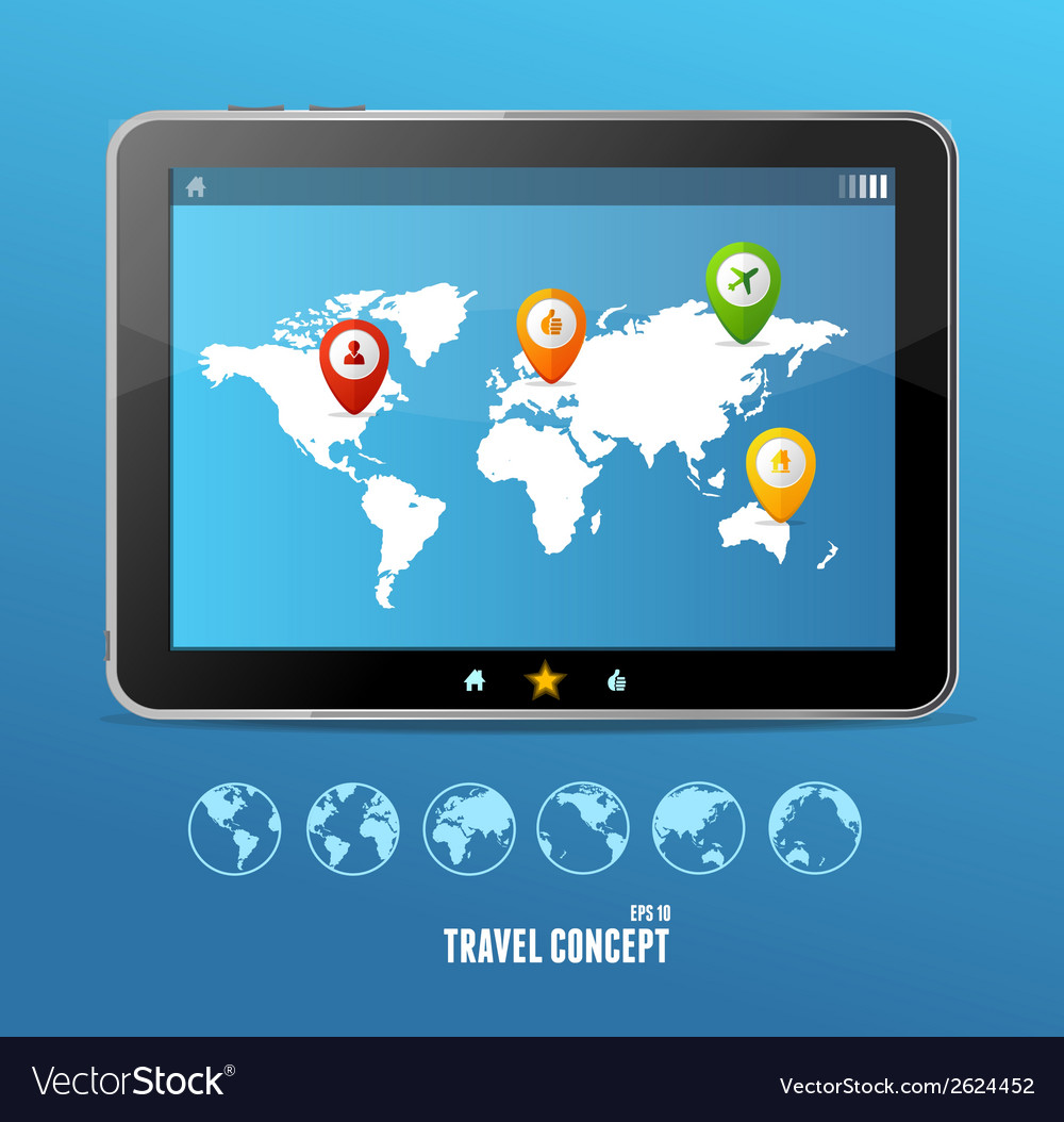 Tablet map and globe set infographics vector | Price: 1 Credit (USD $1)