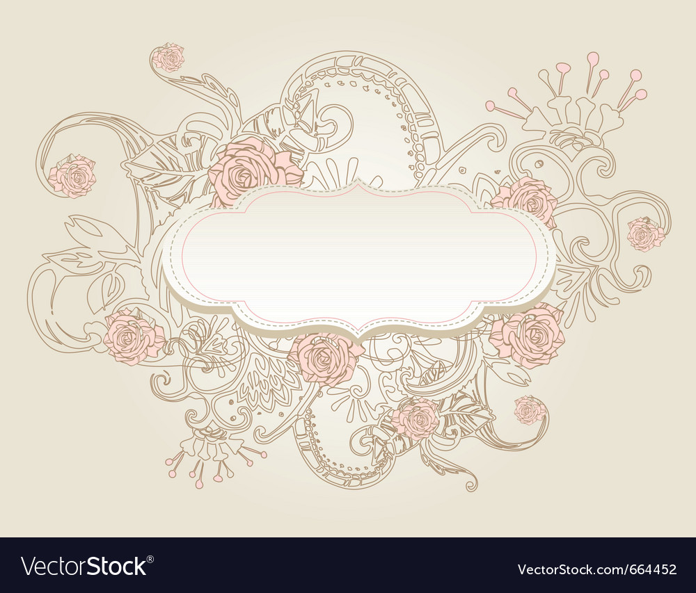 Vintage style background with flowers vector | Price: 1 Credit (USD $1)