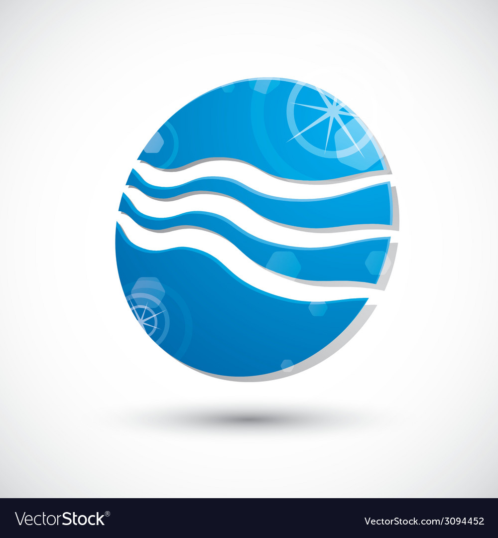 Wave water icon abstract icon 3d symbol vector | Price: 1 Credit (USD $1)