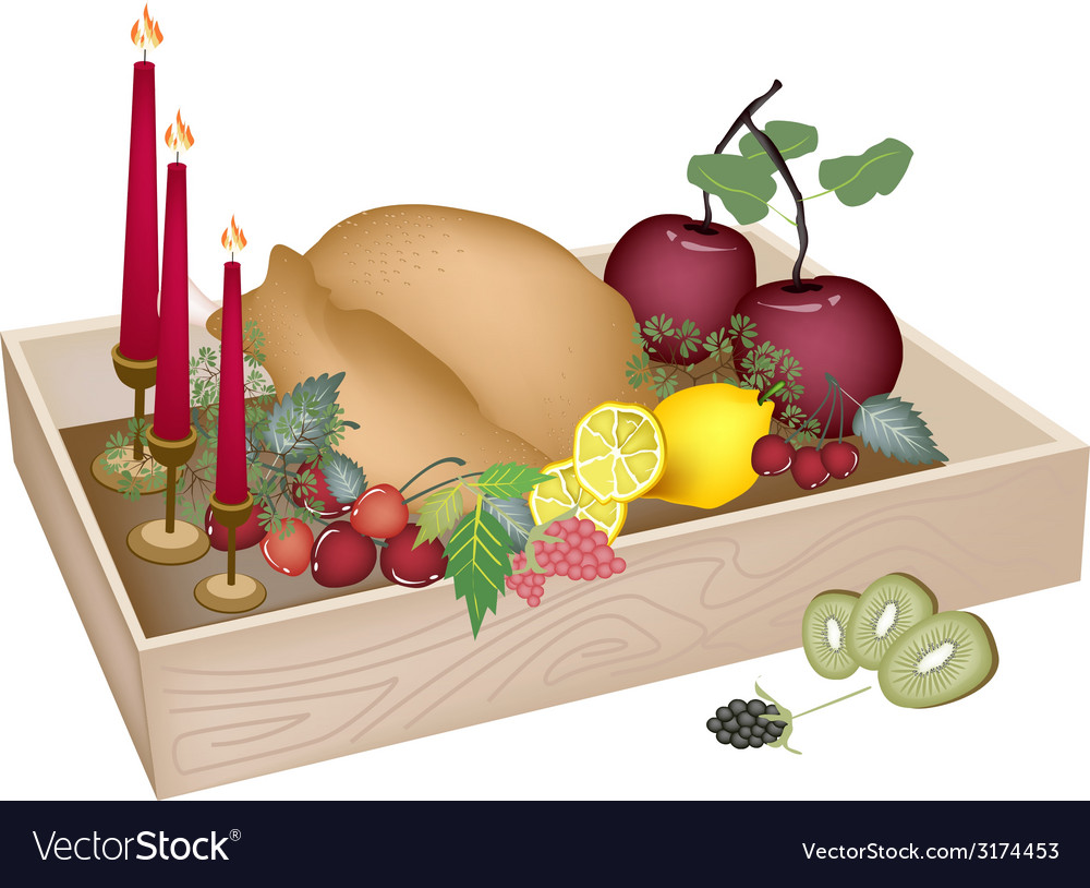 Candles with christmas dinner in wooden container vector | Price: 1 Credit (USD $1)