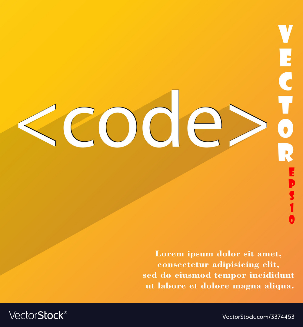 Code icon symbol flat modern web design with long vector | Price: 1 Credit (USD $1)