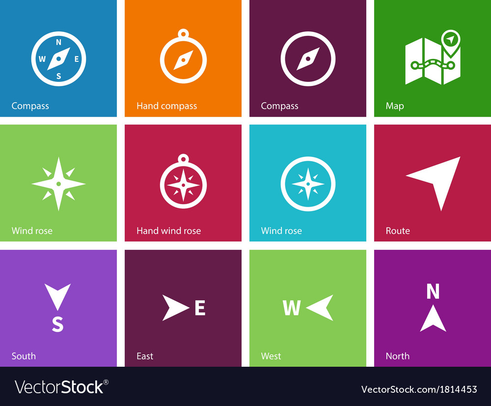 Compass icons on color background vector | Price: 1 Credit (USD $1)