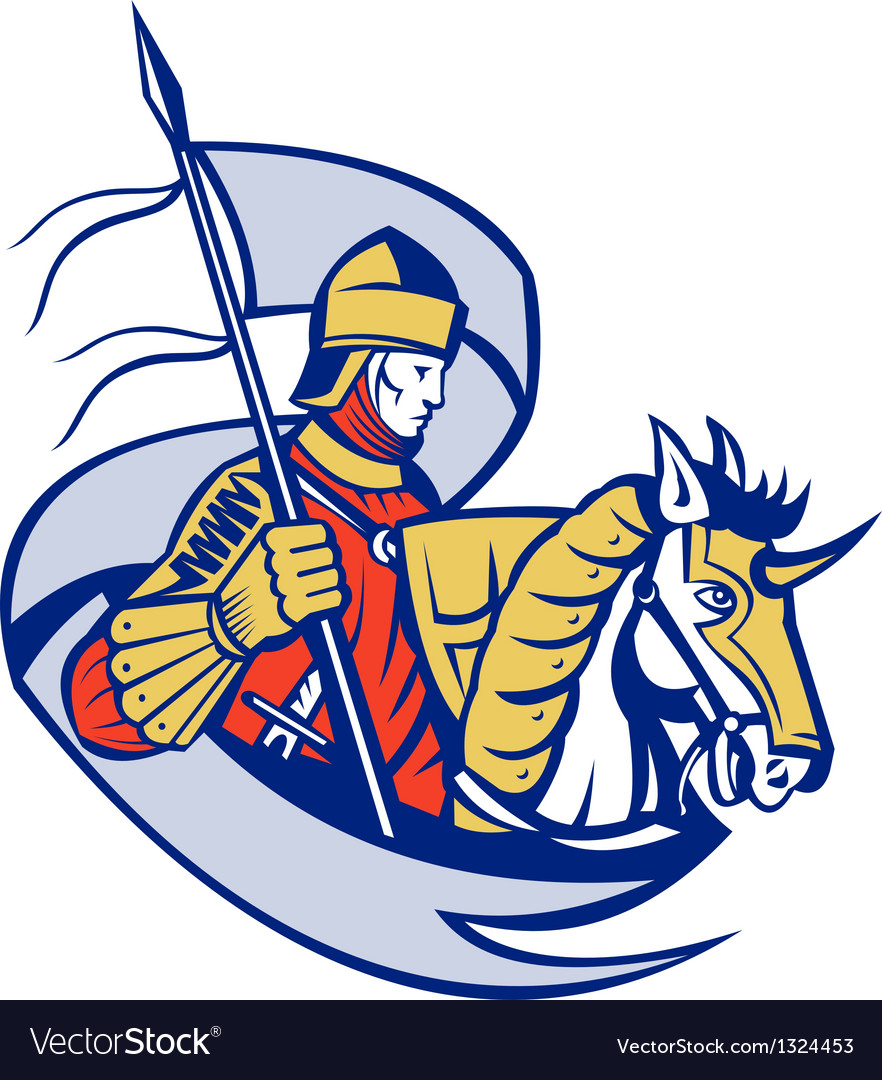 Knight with flag shield horse retro vector | Price: 1 Credit (USD $1)