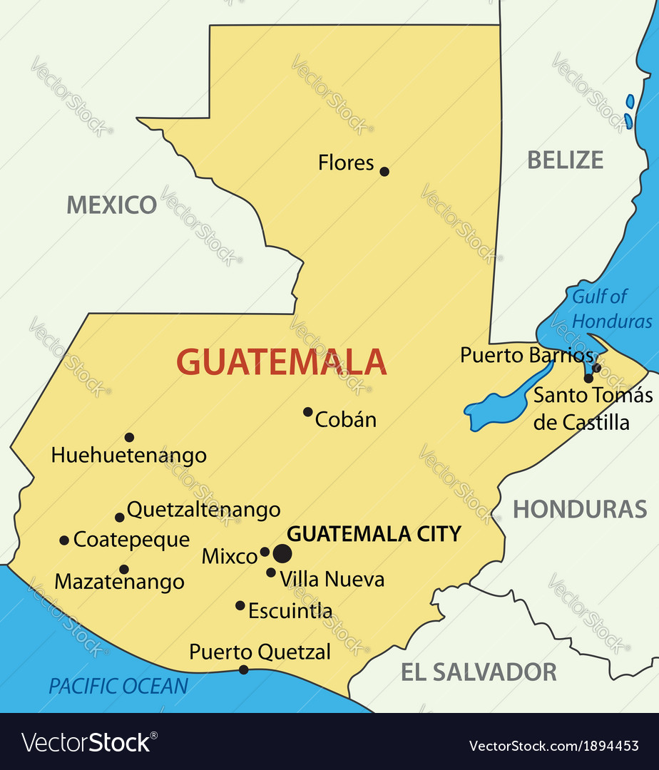 Republic of guatemala - map vector | Price: 1 Credit (USD $1)