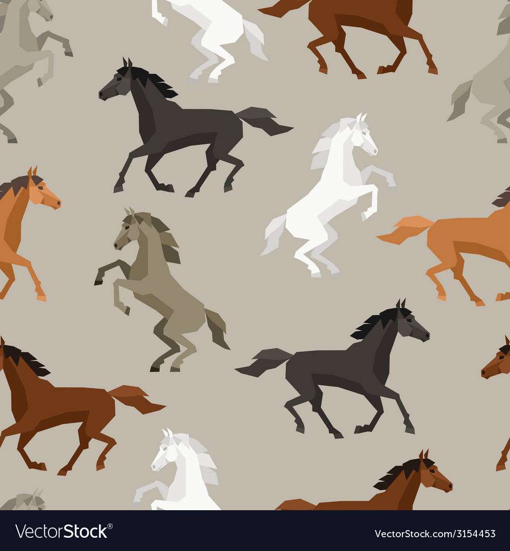 Seamless pattern with horse in flat style vector | Price: 1 Credit (USD $1)