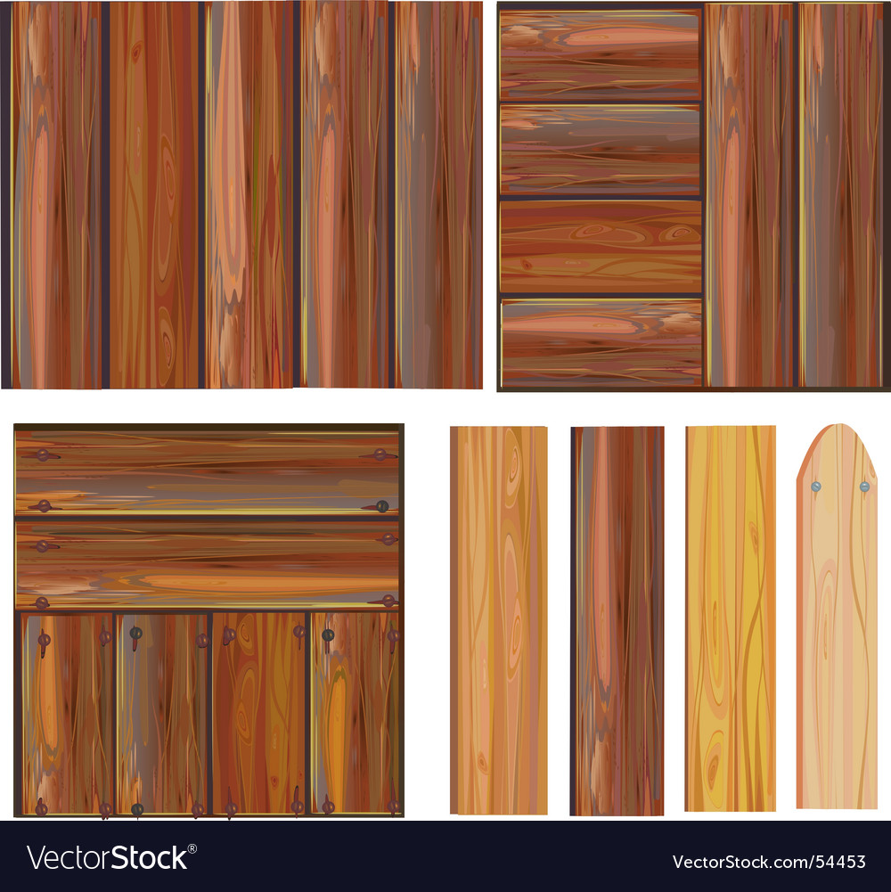 Set of wooden boards vector