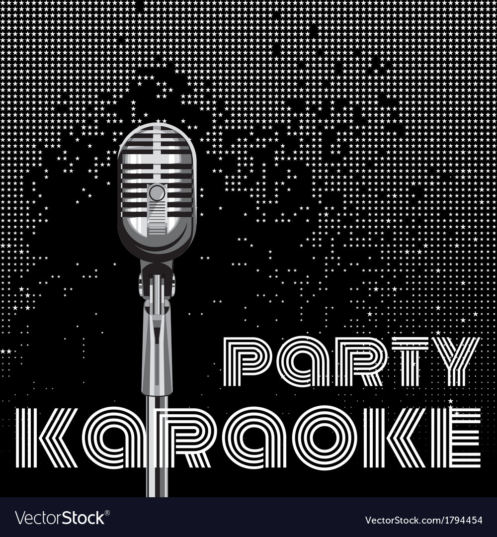 Background with microphone for karaoke party vector | Price: 1 Credit (USD $1)