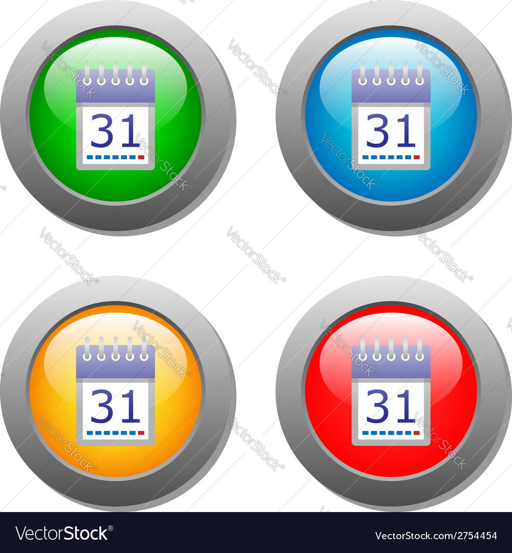 Calendar organaizer icon on buttons set vector | Price: 1 Credit (USD $1)