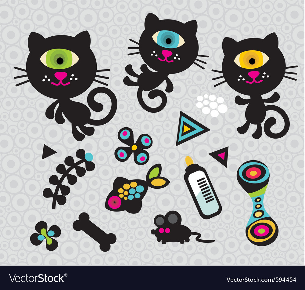 Cat figures vector | Price: 1 Credit (USD $1)