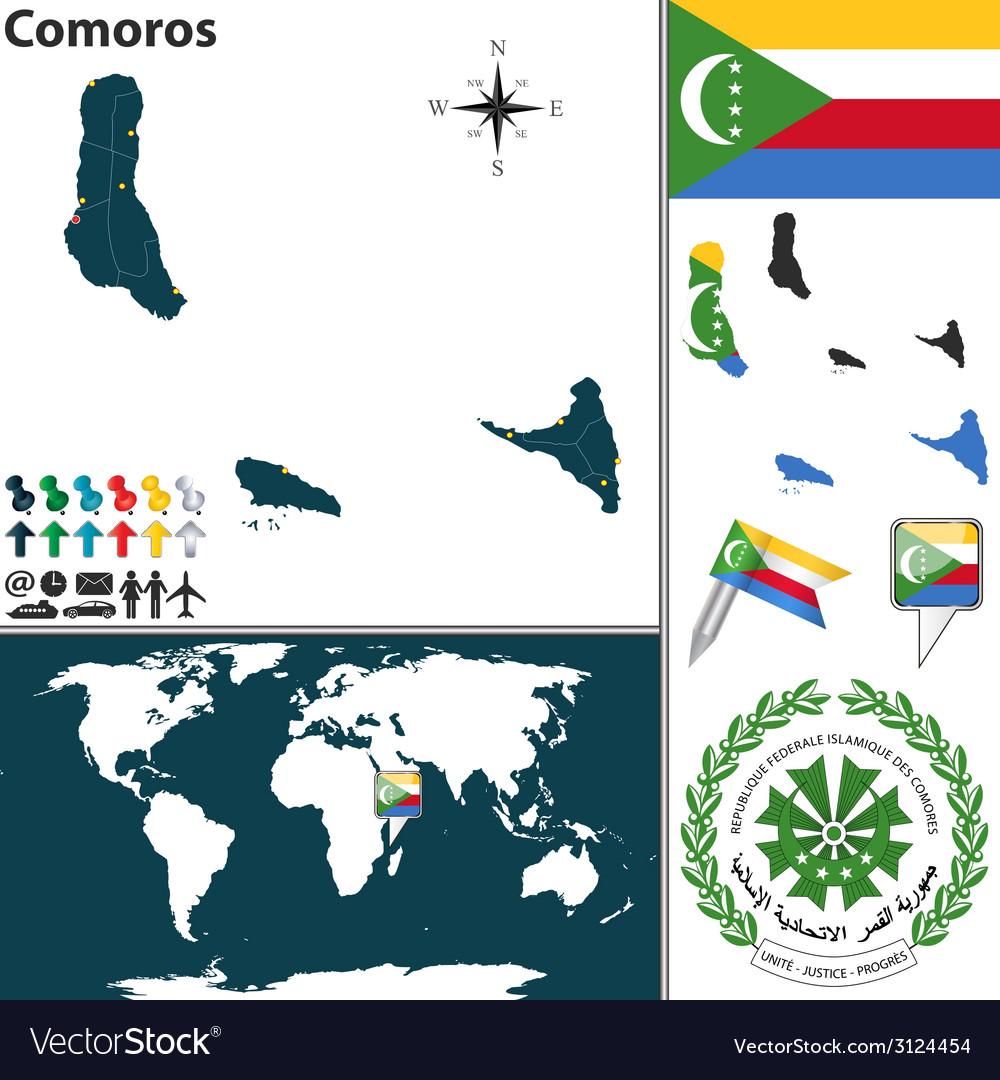Comoros map world vector | Price: 1 Credit (USD $1)