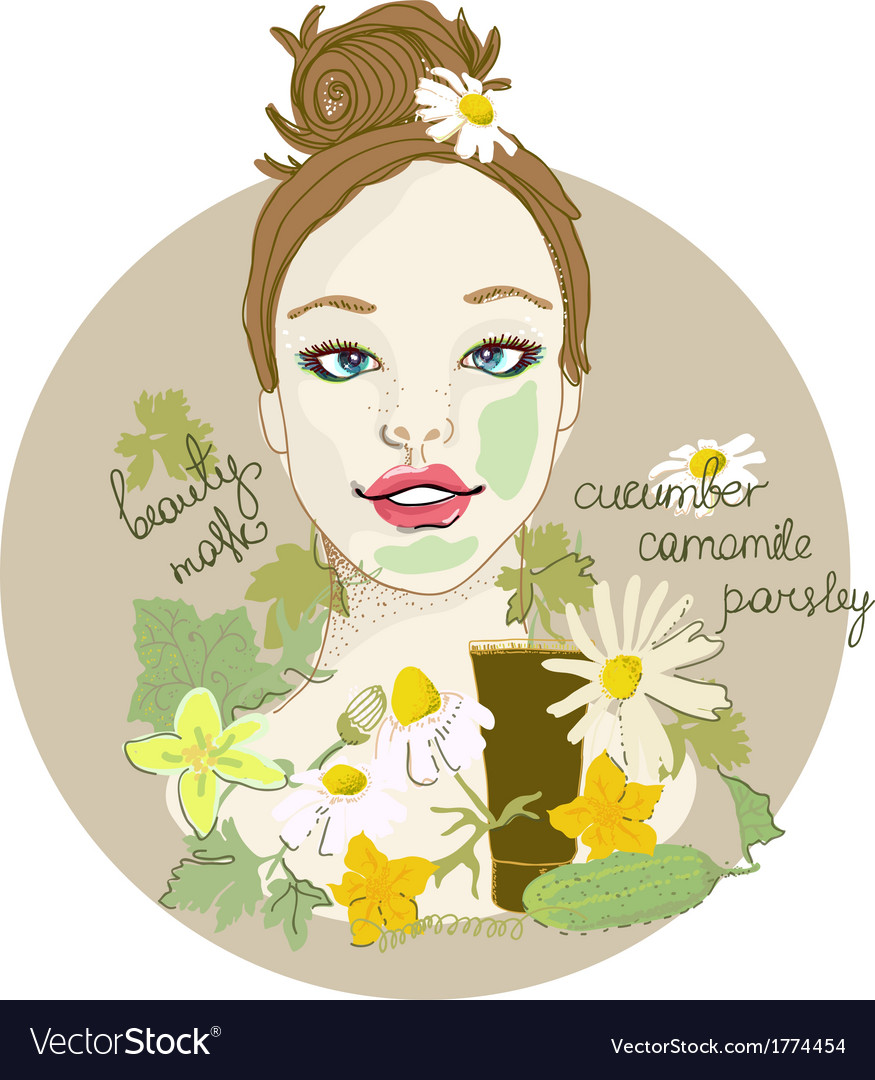 Cute woman with facial mask vector | Price: 1 Credit (USD $1)