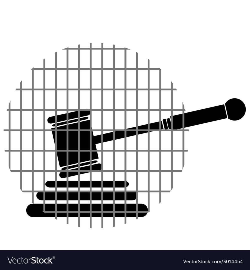 Hammer justice with bars vector | Price: 1 Credit (USD $1)