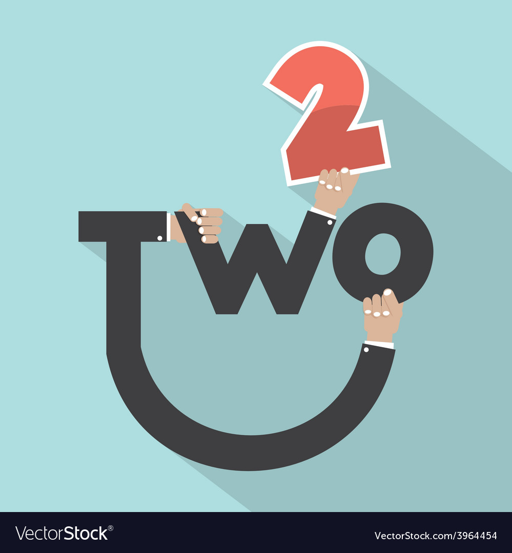 Hands with number two typography design vector | Price: 1 Credit (USD $1)
