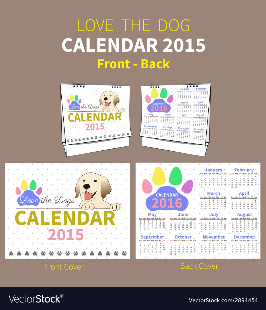 Love the dog calendar 2015 cover vector | Price: 1 Credit (USD $1)